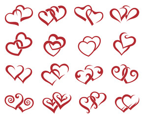 collection of sixteen icons of hearts