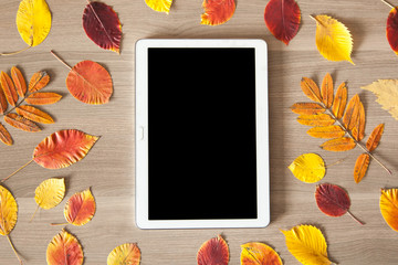 White tablet on a wooden table with colorful autumn leaves, busi