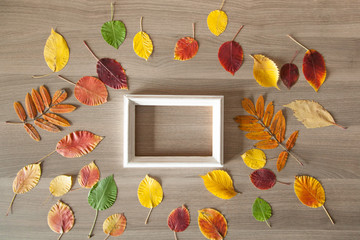 White frame on a wooden table with colorful autumn leaves, busin