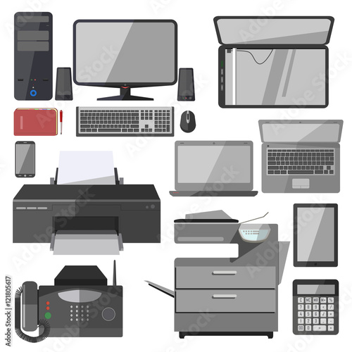 vector technology equipment for office fichier vectoriel libre de droits sur la banque d. Black Bedroom Furniture Sets. Home Design Ideas