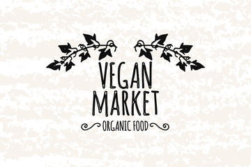 Logo in the style of hand drawn. Hand drawn elements of decorative frame in the vegan market. Fresh, organic ingredients. Sticker, badge or card for production in print and stores. Vector