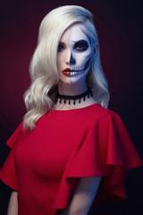 halloween make-up skull beautiful woman