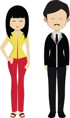 Couple in Korean modern dress. Cartoon korean man and woman.