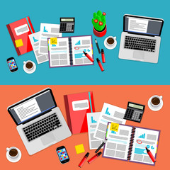 Business office and workspace background set, vector illustration. Top view of office desk with laptop, smartphone, coffee cup, paperwork and other objects on table. Modern workplace backgrounds