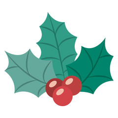 Leaves and berry icon. Merry Christmas season and decoration theme. Isolated design. Vector illustration