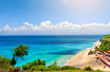 Bali seascape with turquoise ocean and white sand beach