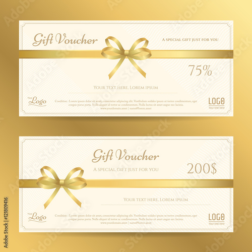 Elegant gift card or gift voucher template with gold bows and elegant gift card or gift voucher template with gold bows and ribbon vector yelopaper Choice Image