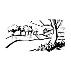 Landscape with the trees in the style of sketch art, line drawing of the temple with ink or marker, stencil for souvenir postcards