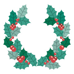 Leaves crown and wreath icon. Merry Christmas season and decoration theme. Isolated design. Vector illustration