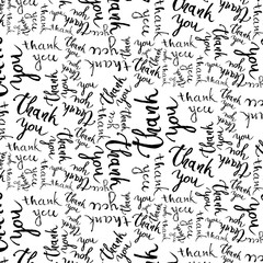 Thank you handwritten illustration, dark brush pen lettering isolated on white background