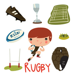 rugby equipment set. rugby cute kid vector character.