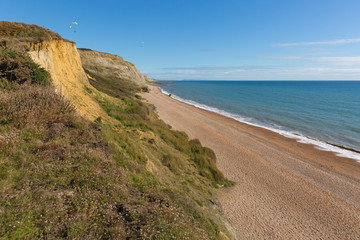Dorset coast beach Eype England uk small village south of Bridport view to the east