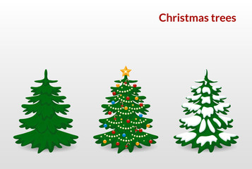 Vector illustration. Set of Christmas trees - green, decorated with balls, stars, garland, candy and snow.