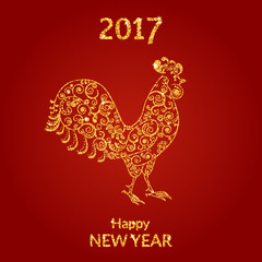 Vector illustration. Symbol 2017 Chinese new year of the rooster, decorated with a delicate pattern. Golden texture