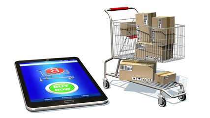 Online shopping, internet purchases and e-commerce concept, modern mobile phone with buy button on the screen and shopping cart full of package boxes isolated on white