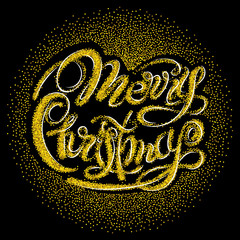 Lettering Merry Christmas from the sparkling gold glitter. Isolated on black background.