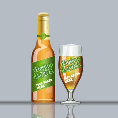 Digital vector glass of beer with foam and bubble mockup, green and brown bottle, realistic flat style, isolated and ready for your design and logo