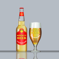 Digital vector glass of brown beer with bubbles mockup, red bottle, realistic flat style, isolated and ready for your design and logo