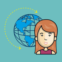 avatar woman cartoon with earth planet world sphere. global network connection theme. vector illustration