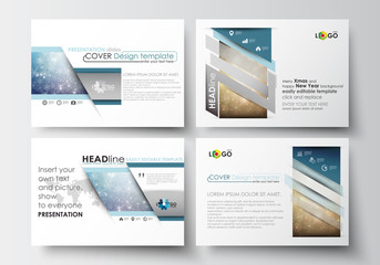 Set of business templates for presentation slides. Easy editable abstract layouts in flat design. Christmas decoration, vector background with shiny snowflakes, stars