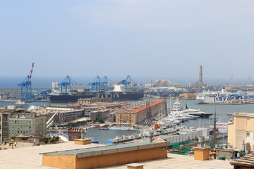 Panorama view to Port of Genoa with old lighthouse, Italy