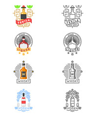 Alcohol drinks logo set. Whiskey and tequila, vodka or liquor labels for restaurants bars