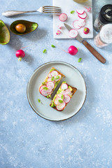 Avocado and radishes sandwich. Overhead view, copy space.