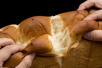食パンを手で割る