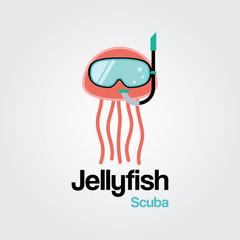 Jellyfish Scuba Logo Template. Jellyfish wearing scuba diving mask in flat design for Diving and Snorkeling equipment shop, diving School or scuba club.