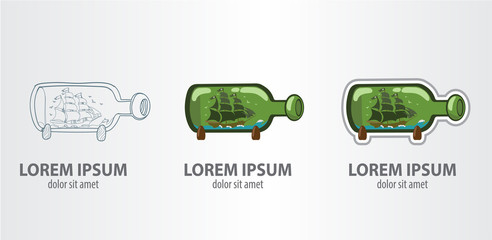 Logo ship in a bottle