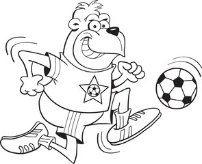 Black and white illustration of a gorilla playing soccer.