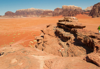 Dramatic landscape Wadi Rum desert,red sand, Jordan Middle East. UNESCO World Heritage. Adventure exotic concept.