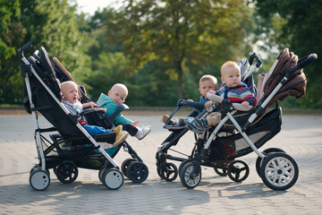 funny children sitting in strollers in park