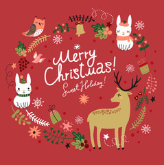 Christmas background. Wreath. Deer with hares and birds