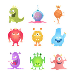 Funny Cartoon Monsters set. Eps10 vector.