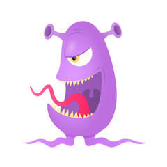 Violet alien monster. Eps10 vector.