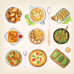 Set of colorful tasty healthy meatless dishes, cooked food from