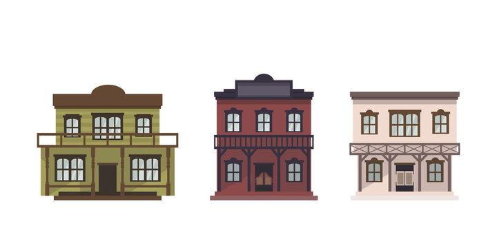 Vector western buildings