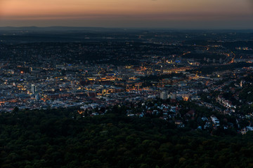 Stuttgart City at night in the summer - Travel Destinations in Germany