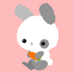 Cute baby bunny with a carrot. Children's character. Rabbit.