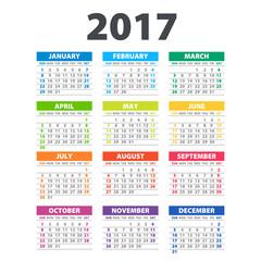 2017 Calendar - illustration Vector template of color 2017 calendar