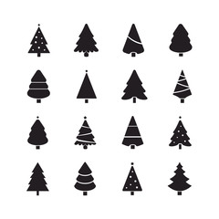 christmas tree set silhouette black
