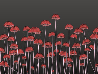 Little red Marasmius mushroom with spore falling