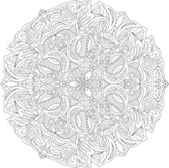 Coloring page adults book- floral abstract mandala design