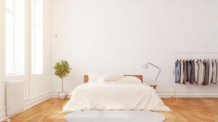 Schlafzimmer mit Doppelbett vor Wand