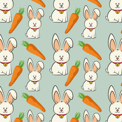 cute rabbit animal and orange carrot vegetable. bunny background. colorful design. vector illustration