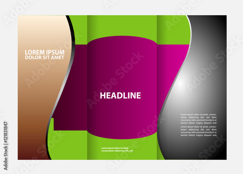 design folding brochures with blue polygonal backgrounds tri fold