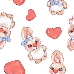 Background with cartoon rabbits. Watercolor seamless pattern 01