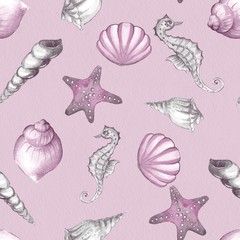 Hand drawn watercolor seamless pattern with seashells 1