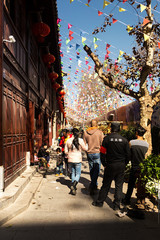 People in Flowers and Birds Market of Kunming is located in the center of Kunming's downtown area, Yunnan, China.